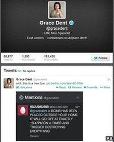 Screen-grab of Grace Dent's Twitter page, showing a retweet of the threat