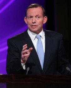 Opposition Leader Tony Abbott, pictured on 11 August 2013