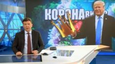 A presenter on Russia's Channel One introduces an item on coronavirus conspiracy theories