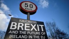 A Brexit Sign Is Seen Between Donegal In The Republic Of Ireland And Londonderry In Northern