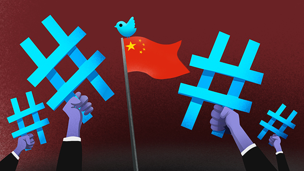 Cartoon showing a Twitter logo on top of the Chinese flag