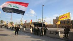 Iraqi security forces guard the US embassy in Baghdad
