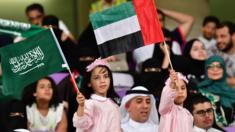 صورة تجمع علم دولة الإمارات والمملكة العربية السعودية ضمن بطولة كأس الخلبج