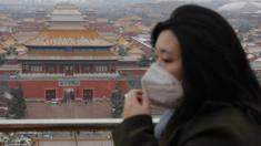 A woman wears a protective mask at Jingshan Park in Beijing, China, 14 February 2020.