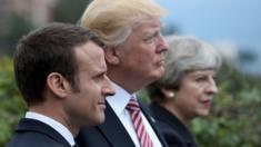 رؤساء الدول الثلاث الذين تحدثوا عن شن ضربة عسكرية موحدة ضد قوات بشار الأسد.