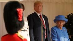Donald Trump and Queen Elizabeth inspect troops during a ceremony full of pageantry at Windsor Castle.