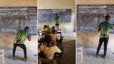 مدرس في غانا يثير اهتمام الانترنت لتدريسه الكمبيوتر بدائيا بالرسم على لوح التدريس