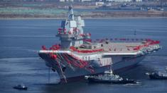 Hàng không mẫu hạm đầu tiên do Trung Quốc tự chế tạo khi còn mang tên Type 001A tại nhà máy đóng tàu Đại Liên