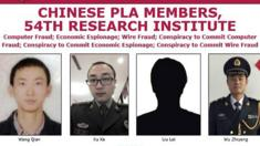 A picture of the wanted poster for the four Chinese men