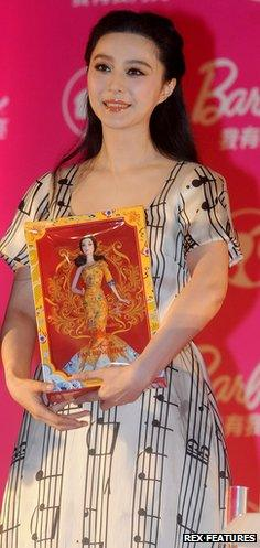 Fan Bingbing with her speciality barbie doll