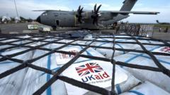 RAF plane delivering supplies to indonesia