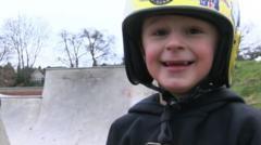 Tyler in a helmet