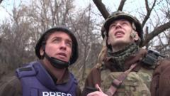 The BBC's Jonah Fisher and a Ukrainian soldier