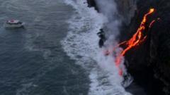 Lava spills into ocean