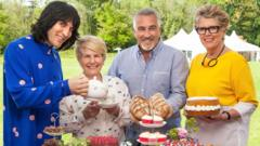 Handout photo issued by Channel 4 of the judges and presenters for The Great British Bake Off (left to right) Noel Fielding, Sandi Toksvig, Paul Hollywood and Prue Leith.