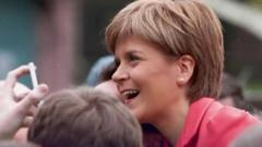 Nicola Sturgeon, the First Minister for Scotland pays a visit to a local Scottish school