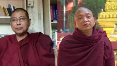 Two monks on opposing sides of the Myanmar protests