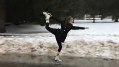 Ice skating in street