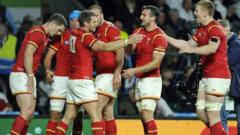Wales players celebrate after win