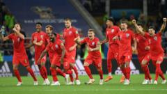 "The England players celebrate after Mateus Uribe of Colombia misses his team""s fourth penalty in the penalty shoot out during the 2018 FIFA World Cup Russia Round of 16 match between Colombia and England"