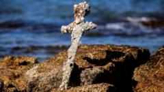 The sword encrusted with marine organisms. Photo: 18 October 2021