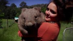 Emily Small and a wombat