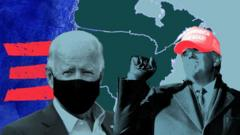 Illustration showing Biden and Trump in front of a map of North America and part of the Biden campaign logo