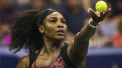 Serena Williams serving in the US Open