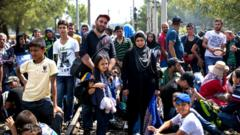 Migrant crowds on the border of Greece and Macedonia