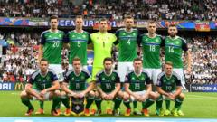 The Northern Ireland Squad before their game against Germany