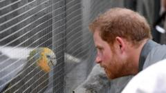 Prince Harry meets a feathered friend