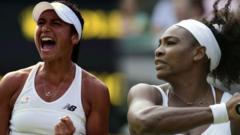 Heather Watson and Serena Williams at Wimbledon