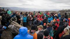 Climate-change-activitists-gathered-by-glacier-site