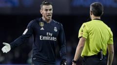 Gareth Bale and a referee