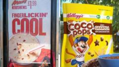 Composite image of banned KFC and Kellogg's adverts