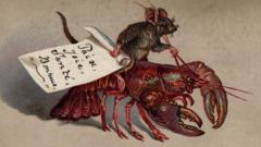 Victorian Christmas card with mouse riding a lobster