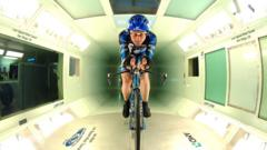 A cyclist in a wind tunnel