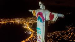 In Brazil the Christ the Redeemer statue was lit up