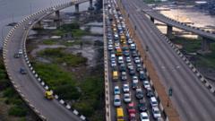 Traffic on the Third Mainland Bridge, Lagos, Nigeria