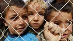 Children in a refugee camp in Jordan