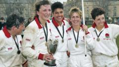 England's winning 1994 team celebrate with the trophy