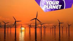 Sunset and a windfarm with the your planet logo