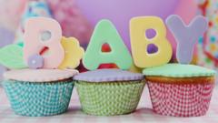 Cupcakes with baby written on