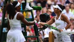 Heather and Serena shake hands after the match