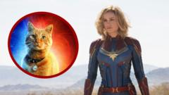 Brie Larson as Captain Marvel with cat.