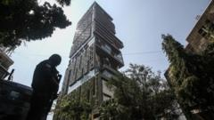 Security personnel stands guard outside Antilia, a multi-storey residence building of Indian industrialist Mukesh Ambani, in Mumbai, India, 26 February 2021