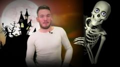 Martin with a skeleton man graphic next to him