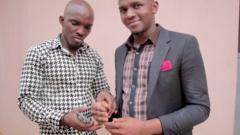 John inspects Ubokobong's prosthetic hand