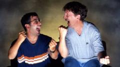 Baddiel and Skinner posing for their show Fantasy Football League