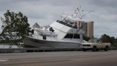 Boat washed ashore at Orange Beach in Alabama